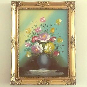 Other - Large Original Oil Painting Floral w Gold Frame *A